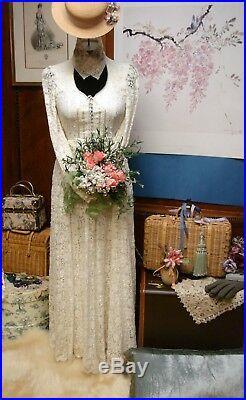 Gunne Sax English Cluny Lace Romantic Maxi Wedding DressRareStunning