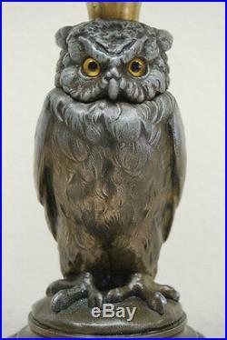 Gwtw Oil Kerosene Banquet Antique English Whimsical Victorian Figural Owl Lamp