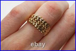 HEAVY LATE VICTORIAN ANTIQUE ENGLISH 18K GOLD 2 ROW KEEPER RING c1895 11.7g