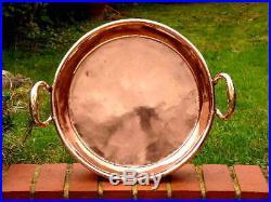 HUGE VICTORIAN 19th century DEEP ENGLISH ANTIQUE COPPER PRESERVES PAN