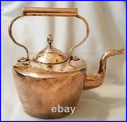Huge 19th Century English Copper Kettle'5' Capacity Dovetailed with Acorn Finial