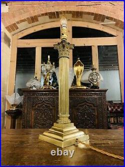 Huge Antique English Cast Brass Corinthian Column Table Lamp, Victorian, Rewired