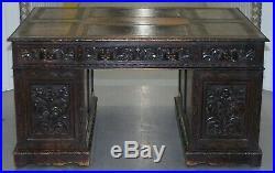 Huge Rare Hand Carved Double Sided English Oak Edwardian Pedestal Desk Green Man