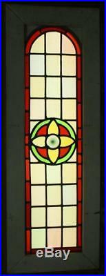 LARGE OLD ENGLISH LEADED STAINED GLASS WINDOW Victorian Floral Arch 13 x 37