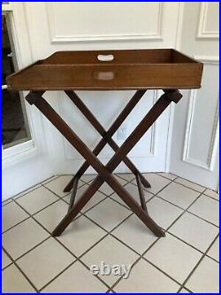 LATE 19th CENTURY ENGLISH MAHOGANY BUTLERS TRAY WITH FOLDING STAND TABLE