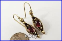 LOVELY ANTIQUE VICTORIAN ENGLISH 15K GOLD ALMANDINE GARNET DROP EARRINGS c1870