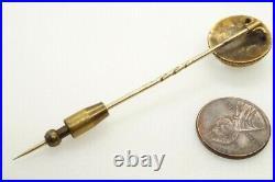 LOVELY ANTIQUE VICTORIAN ENGLISH 15K GOLD ESSEX CRYSTAL SHIH TZU STICKPIN c1870