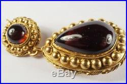 LOVELY ANTIQUE VICTORIAN ENGLISH 15K GOLD FOILED GARNET DROP PENDANT c1880