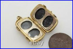 LOVELY ANTIQUE VICTORIAN ENGLISH GILT TRUNK SHAPED FAMILY LOCKET c1860