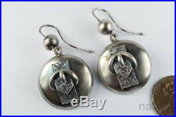 LOVELY ANTIQUE VICTORIAN ERA ENGLISH SILVER BUCKLE DISC EARRINGS c1880