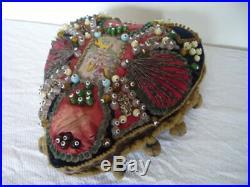 Large Antique Victorian English Blue Velvet Beaded Heart Shaped Pin Cushion 11