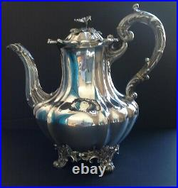 Large Barnard Victorian Antique English Sterling Silver Coffee Pot London 1839