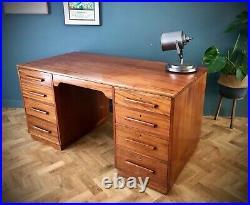 MID Century Modern English Oak Double Sided Partner Writing Desk