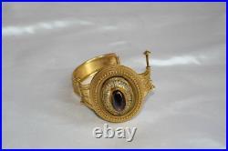 Magnificent 19c Victorian English 18k Yellow Gold Garnet Enamel Bracelet