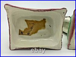 Matched Pair Antique Staffordshire English Creamware Cat Figures On Pillows 7