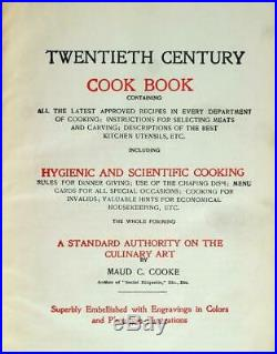 Maud Cooke Victorian 1890s Twentieth Century Cook Book Antique Vintage Recipes