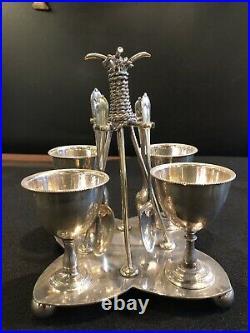 Nine (9) Piece English Silver Plate Breakfast Egg Cruet Set Cups Spoons
