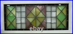 OLD ENGLISH LEADED STAINED GLASS WINDOW TRANSOM Victorian Geometric 36.75 x 17