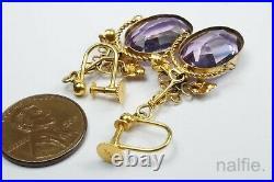 PRETTY ANTIQUE VICTORIAN ENGLISH 15K GOLD & AMETHYST DROP EARRINGS c1880