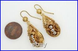 PRETTY ANTIQUE VICTORIAN ENGLISH 15K GOLD & PASTE DROP EARRINGS c1870
