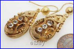 PRETTY ANTIQUE VICTORIAN ENGLISH 15K GOLD PASTE DROP EARRINGS c1870