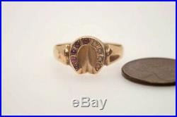 PRETTY ANTIQUE VICTORIAN ENGLISH 15K GOLD PEARL & RUBY HORSE SHOE RING c1888