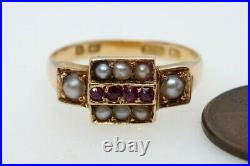PRETTY ANTIQUE VICTORIAN ENGLISH 15K GOLD RUBY & PEARL RING c1872