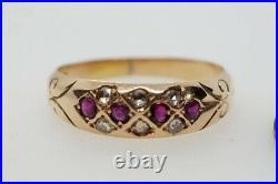 PRETTY ANTIQUE VICTORIAN ENGLISH 15K GOLD RUBY & ROSE CUT DIAMOND RING c1890