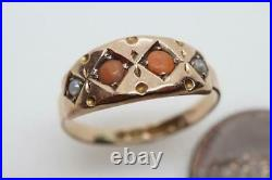 PRETTY ANTIQUE VICTORIAN ENGLISH 9K GOLD CORAL & PEARL RING c1885