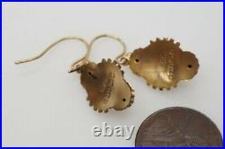 PRETTY ANTIQUE VICTORIAN ENGLISH 9K GOLD ETRUSCAN REVIVAL DROP EARRINGS c1889
