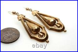 PRETTY ANTIQUE VICTORIAN ENGLISH 9K GOLD FACETED DROP EARRINGS c1880
