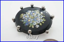 PRETTY ANTIQUE VICTORIAN ENGLISH SILVER FORGET ME NOT MICROMOSAIC BROOCH c1887