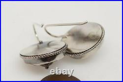 PRETTY ANTIQUE VICTORIAN ENGLISH STERLING SILVER FLOWER EARRINGS c1880
