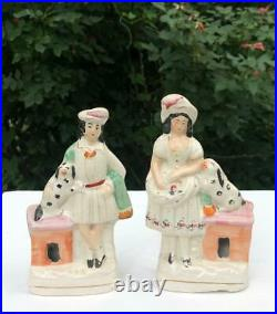 Pair Antique English Staffordshire Figures Man Woman Dog Rabbit and Kennel 19thC
