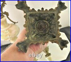 Pair Antique Victorian Hand Painted Art Glass Ornate Metal Mantel Ewers