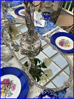 Pair of English Victorian Ornate Silver Plate Mirrored Plateaus 31 inches each