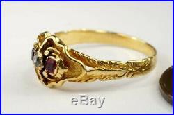 Pretty Antique Early Victorian English 18k Gold Diamond & Garnet Ring