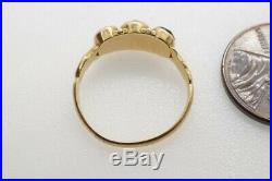 Pretty Antique MID Victorian English 18k Gold Almandine Garnet 3 Stone Ring