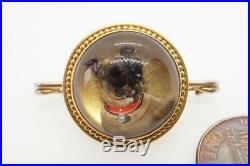 QUALITY ANTIQUE VICTORIAN ENGLISH 18K GOLD ESSEX CRYSTAL PUG DOG BROOCH c1870