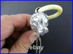 RARE STERLING SILVER FIGURAL DOG HEAD WHISTLE MATCH SAFE VESTA English Hallmarks