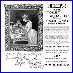 Rare 1800s DOULTON BURSLEM 3-Piece English Pottery ROYLES PATENT TOILET AQUARIUS