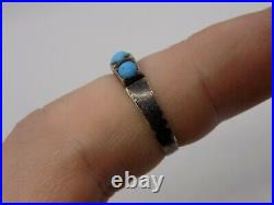 Rare 1884 Victorian Antique English Sterling Silver Turquoise Ring. Size L 1/2