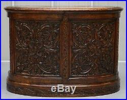 Rare 19th Century Restored English Oak Brown Leather Kidney Desk Gothic Jacobean