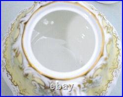 Rare Victorian Antique (c. 1843) English Yellow Green Pottery Tea Set