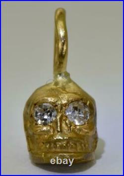 Rare antique English Victorian 18k solid gold&Diamonds Skull charm pendant fob