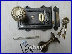 Rustic Old English Vintage Victorian Bedroom Rim Door Knob Handle Latch Set