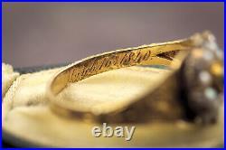 SUPERB ANTIQUE VICTORIAN ENGLISH 15K GOLD DIAMOND PEARL FLOWER RING c1840