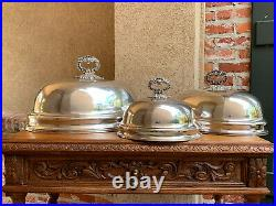 Set of 3 Antique English Silver Plate Turkey Meat DOME Food Cover Holiday Decor