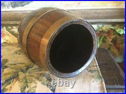 Small Antique English Victorian Brass & Oak Barrel 10