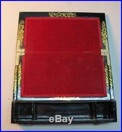 Superb 19th C. ENGLISH PAPIER MACHE Sewing Kit & Lap Desk c. 1880 antique